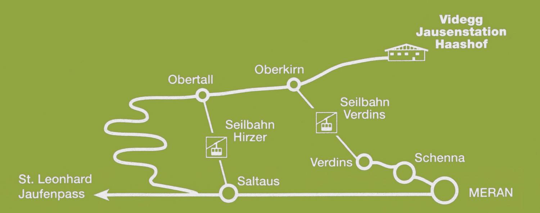 Anfahrt zum Haashof in Videgg oberhalb von Schenna